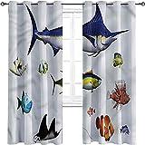 Cortinas opacas para dormitorio de acuario, hawaiano Pacific Fauna, 2 paneles por grupo de 52 x 63 pulgadas
