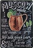 Blechschild 20x30cm gewölbt Moscow Mule Wodka EIS Limone Deko Geschenk Schild Cocktail Bar Rezept