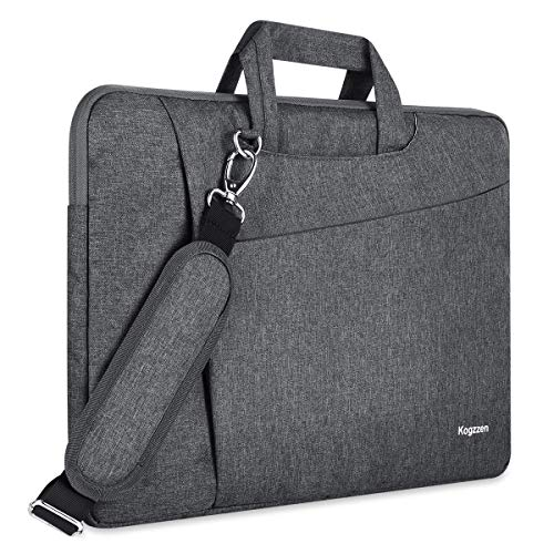 Kogzzen 16 15.6 15.4 15 Inch Laptop Sleeve Messenger Shoulder Bag Compatible with MacBook Pro 16/15/ Surface Laptop 15/ Surface Book 15, Slim Waterproof Protective Case Dell HP Lenovo Asus - Gray