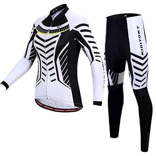 EDK Damen Fahrradtrikot Set Winter Radsportbekleidung Outfit Outdoor Rennrad MTB Langarm Sportbekleidung Schwarz Reifenspuren,L