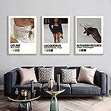DiseñAdor Moderno Arte Poster Lujo Moda Pared Arte Impresiones Modelo De La Lona Cuadros Vintage Pintura Salon Recamara NóRdico Decoracion Marco De La 30x40cmx3 No