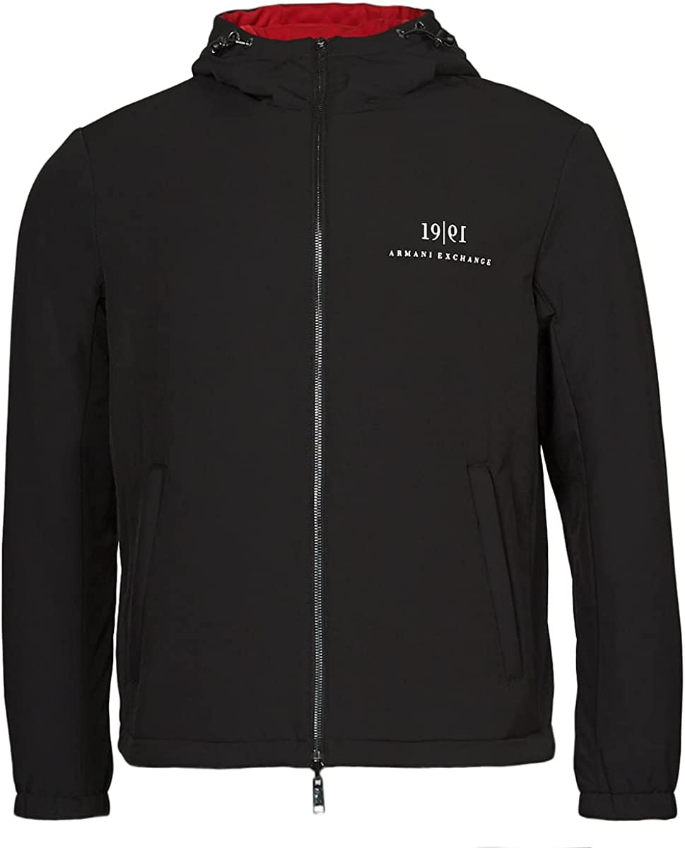 AX Armani Exchange Men's Reversible Hooded 1991 Heritage Logo Nylon Jacket
