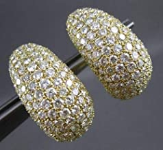 MASSIVE 9.50CT ROUND DIAMOND 18KT YELLOW GOLD 3D CLIP ON EARRINGS #23438