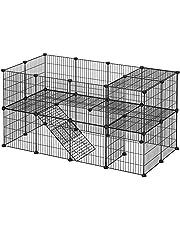 SONGMICS Wybieg do klatek, 36 paneli, 2-poziomowy, 143 x 71 x 73 cm, kojec dla małych zwierząt i świnek morskich, z gumowym młotkiem, do użytku wewnątrz, regulowany, do indywidualnego montażu, czarny LPI02H