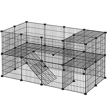 Enclos individuel: Construisez un enclos à 2 étages ainsi qu'une petite échelle et une maison pour vos petits animaux - le tout en panneaux de treillis. Utilisez un tapis pour enclos sur le second niveau Enclos sécurisé pour petits animaux: Les bords...