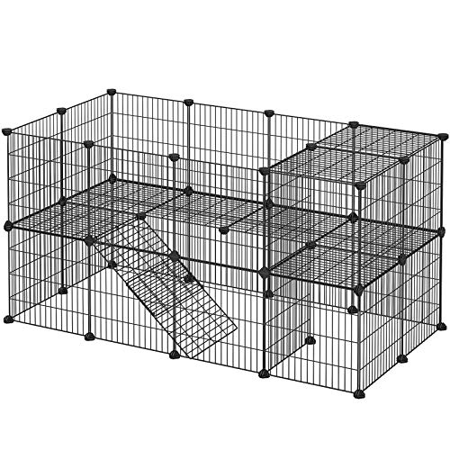 SONGMICS Gittergehege, 36 Platten, 2 stöckig, 143 x 71 x 73 cm, Laufgitter für Kleintiere und Meerschweinchen, inkl. Gummihammer, für Innen, verstellbar, individuell zusammenbaubar, schwarz LPI02H