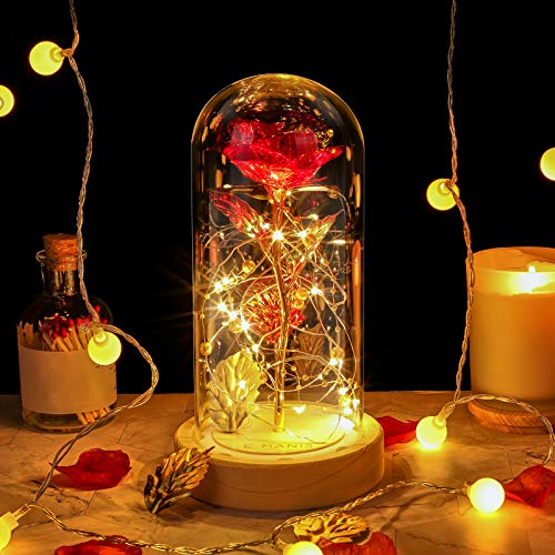 E-MANIS Die Schöne und das Biest Rose, Rotgoldfolie Rose und Led Light mit Goldperlen in Glaskuppel auf Holzsockel für Weihnachten, Valentinstag, Muttertag, Jubiläum, Hochzeit, Wohnkultur