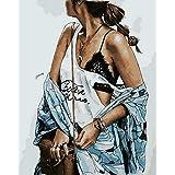 数字で描くセクシーなクールな女の子Diyの大人のデジタル絵画の家の部屋の装飾アート画像-40X50Cmフレームレス