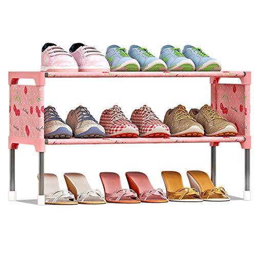 Zapatero estantes para zapatos, 2 capas, apilables, 9 pares de zapateros, tela no tejida, armario, entrada, dormitorio, encontrar fácilmente tus propios zapatos (color: rosa, tamaño: 58 x 26 x 32 cm)