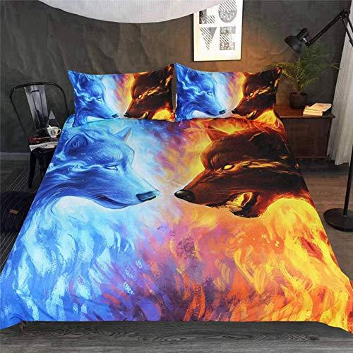 HHDL Juego de ropa de cama con diseño de lobo en 3D, funda nórdica de microfibra, con cremallera y...
