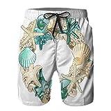 Hombres Verano Secado rápido Pantalones Cortos Playa Ornamento de Marco Redondo Hecho Conchas de mar Trajes de baño Correr Surf Deportes-4XL
