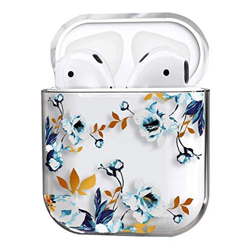 Funda Compatible para Airpods 1 & 2 Estuche Rígido PC Lindo de Diseño Moda Chica Transparente Cubierta Anti-Rasguño Antigolpes 360° Protectora Carcasas Case para Airpods 2 y 1 (Flor Blanca)