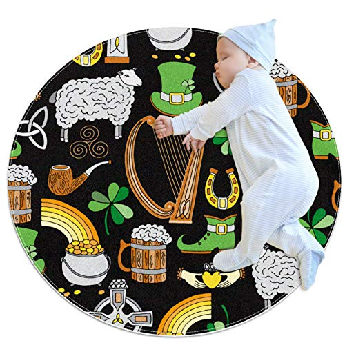 Alfombra Redonda, felpudos, Alfombra,Irlanda de Patrones sin Fisuras Antideslizante para Dormitorio, Sala de Estar, habitación para niños o para Libros