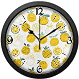 レモン みずみずしい きれい掛け時計、ヴィンテージの形、繊細で美しい模様は寝室、居間、オフィススクールなどに使用できます。直径約30センチ