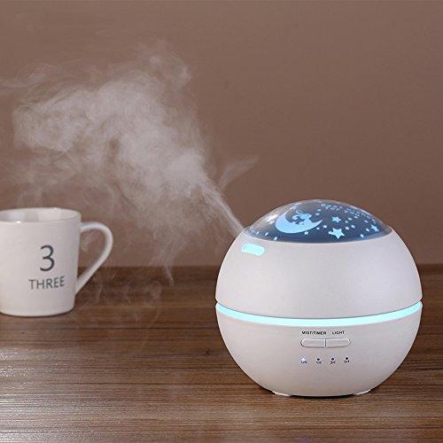 Pinjeer Difusor ultrasónico de la aromaterapia 2018 con difusores del aroma de la flor Humidificador fresco de la niebla para el dormitorio casero de la oficina