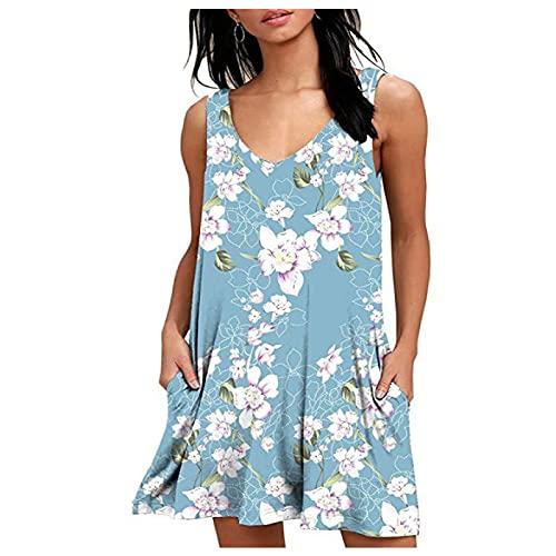 Vestido con Tirantes Mujer Verano Primavera y Verano Moda Falda de Longitud Media con Cuello en V Chaleco Estampado Bolsillo XXL