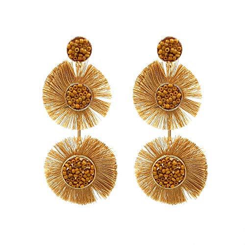 JY Novelty Jewelry-Women's Earrings Bohemian Tassel Earrings European and American Brown Exaggerated Personality Earrings Female Models Earring