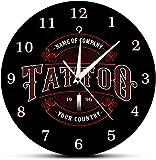 Reloj De Pared Reloj De Pared Gran Tiempo De Tatuaje Reloj De Pared Personalizado Tienda De Tintas Tatuajes Pistola Artista Regalo Tienda De Arte Corporal Estudio De Tatuajes Logotipo Nombre De La Emp