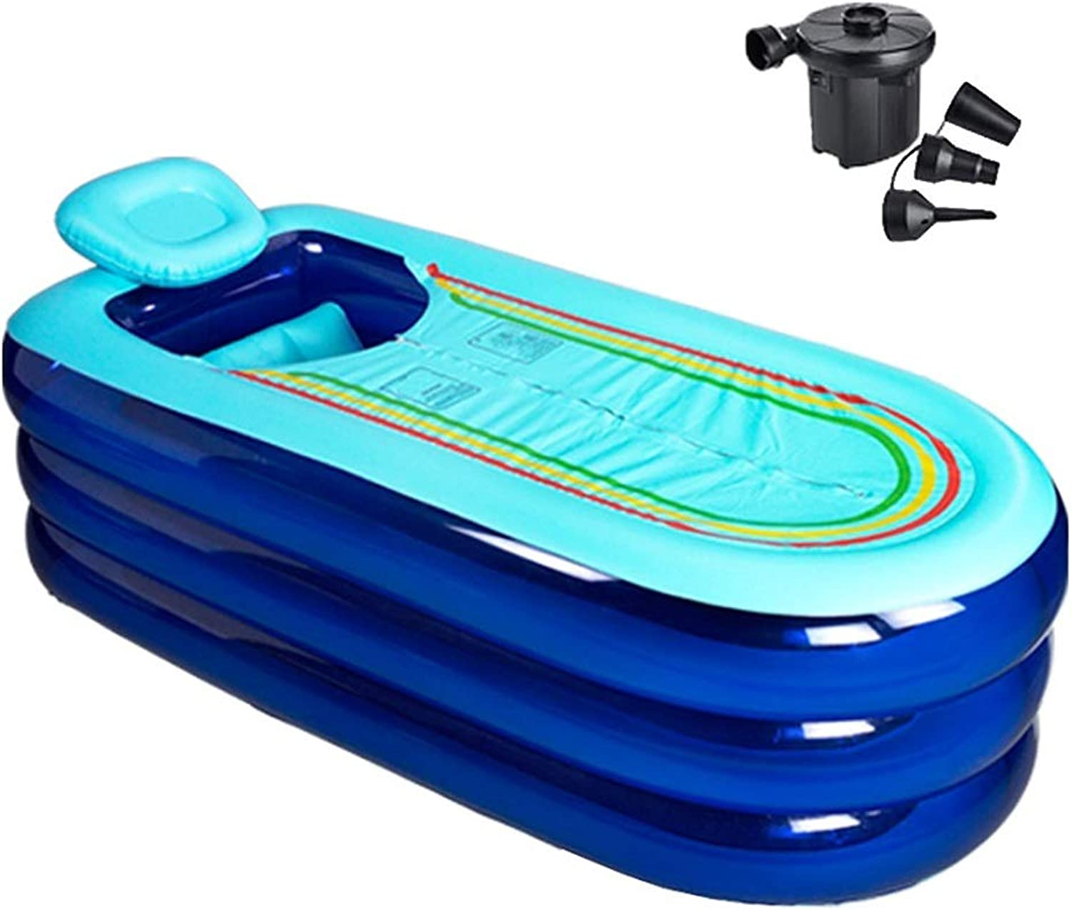 FuManLi Portable Bathtub For Adults Inflatable Plastic Bath Tub With Electric Air Pump, Large For Bathroom SPA, 66x31x18inch (color   bluee)