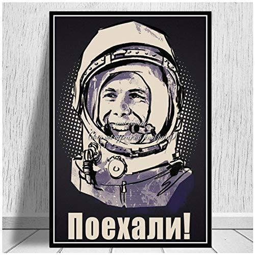 wzgsffs Space Heroes Yuri Gagarin Poster Und Drucke Wandkunst Druck Auf Leinwand Für Wohnzimmer Home Schlafzimmer Dekorativ-20X30 Zollx1 Rahmenlos