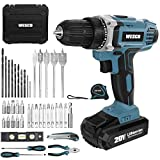 Cordless Drill/Driver, WESCO 20V Electric Drill Set 42pcs with Lithium-ion Battery and Charger, 21+1 Clutch, 120 In-lbs Torque, 3/8' Keyless Chuck, LED Light and Storage Case Included /WS2972KU