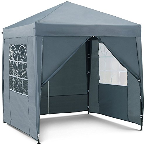 Vonhaus Pop Up Gazebo 2x2M – Outdoor Garden Marquee With Water-Resistant Cover - Grey Colour