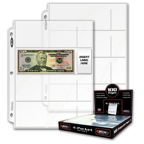"BCW Pro 4-Pocket Currency Pages | Pocket Size 2-3/4"" x 6-3/4"" 