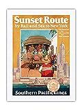 Michel Cady, poster da viaggio in treno e mare a New York – Southern Pacific Lines – Vintage Railroad Travel Poster by Michel Cady c.1950-100% pura seta Dupioni tessuto 61 x 81 cm