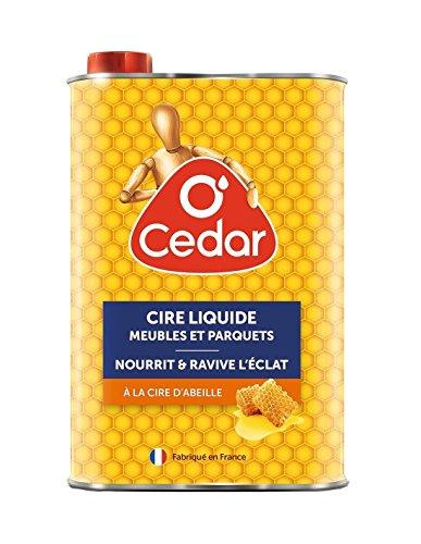 O'Cedar - Cire Liquide - Nettoyant Parquet - Cire Bois Meubles et Parquets - Riche en Cire d'Abeille Naturelle - Protège, Fait Briller les Bois Cirés ou Bruts - Fabriqué en France - Bidon de 750ml