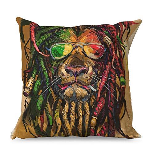 Fundas de almohada decorativas de arco iris con diseño de león y gafas de sol de hip hop, funda de cojín ultra suave para coche, color blanco 45 x 45 cm