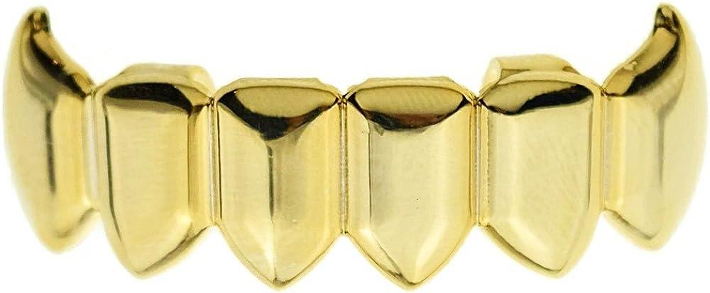 Fang Grillz 14k Gold Plated Bottom Lower Row Plain Teeth Hip Hop Dracula Vampire K9 Grills