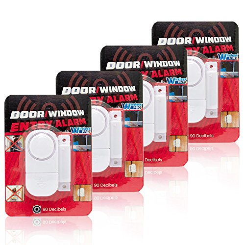 Best Mini Wireless Loud and Discreet Security Door and Window Entry Defense Alarm with Magnetic Sensor Battery Operated for Home Garage Balcony Pool Sliding Doors Cabinets & More (4)