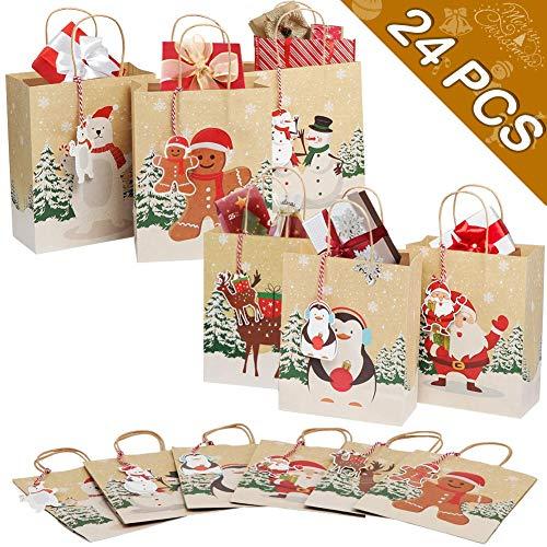 OurWarm 24 pezzi Sacchetti regalo di Natale, Sacchetti per feste di Natale Scatole di carta per caramelle per forniture per decorazioni natalizie