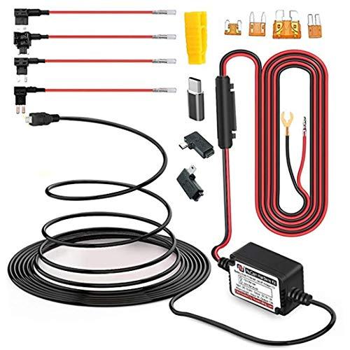 15ft Micro USB & Mini USB Dash Cam &Type-C Hardwire Kit w. Mini(ACS)/LP Mini(ACN)/ATO(ATC or ACU)/Micro2(ACZ) Fuse, Micro to Mini/USB-C Port Adapters & 11.9V Real Battery Drain Protection