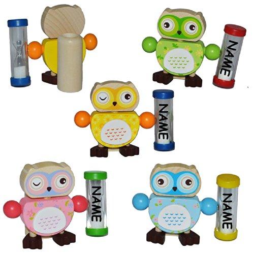 alles-meine.de GmbH Zahnputzuhr / Zahnbürstenhalter - Eule mit Sanduhr incl. Name für Mädchen - Eulen aus Holz für die Zahnbürste Kinder / zum Zähneputzen für 3 Minuten