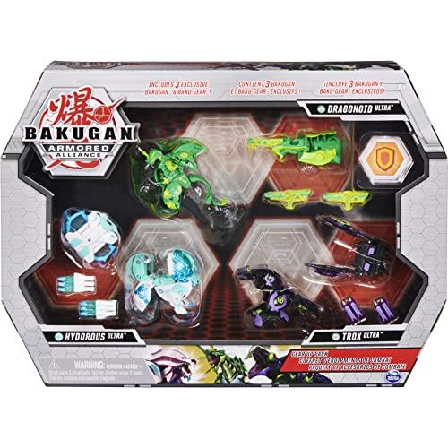 BAKUGAN Armored Ring – Gear Up Pack Bakugan – 3 Ultra Bakugan with Baku-Gear Accessories – 6059292 – Bakugan Cartoon – Children's Toy 6 Years + Bakugan