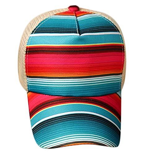 GROOMY Gorra de béisbol, Gorra de béisbol de Rayas arcoíris de Girasol, Malla Hueca, Cruzada, con Cola de Caballo, Sombrero para papá-B