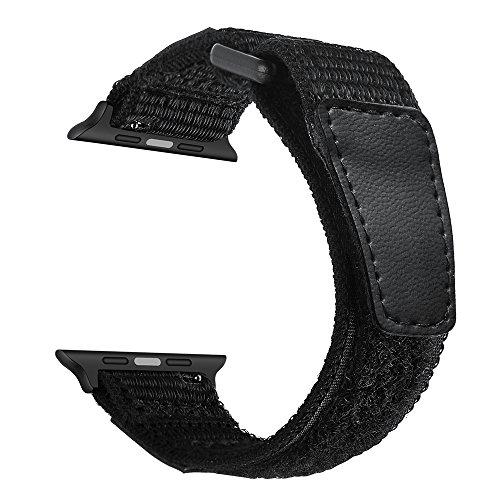 YoChYi Compatible con Apple Watch Series 5 4 3 2 1 38mm 40mm 42mm 44mm Correa, Velcro de Nylon Banda de Repuesto (42/44mm, Black)