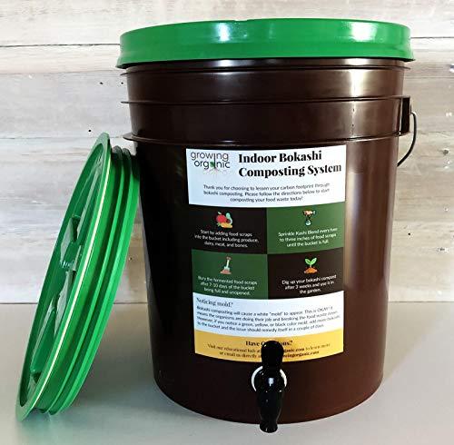 Best Buy! Bokashi Composting System | Simple In-Home Composting Bin (5 lbs of Kashi Blend)