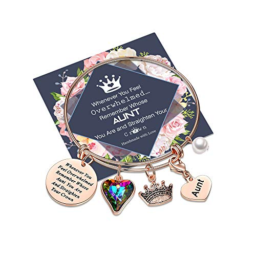 Whenever You Feel Overwhelmed Remember Whose Aunt Bracelet Straighten Your Crown Bracelet, Rose Gold Charm Bracelet Engraved Inspirational Bracelets for Aunt Gifts from Niece (Aunt Crown Bracelet)