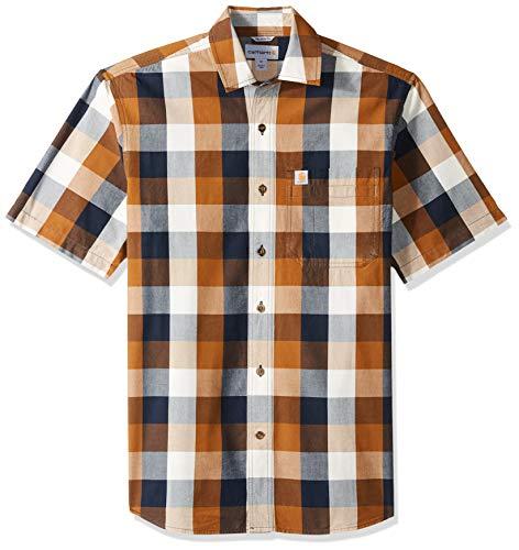 Carhartt Men's Essential Plaid Open Collar Short Sleeve Shirt, 211-Carhartt Brown, X-Large