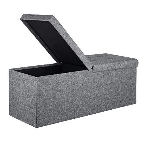 Homfa Sitzbank Sitztruhe mit Stauraum Klappdeckel Faltbar Leinen Hellgrau 110x38x38cm 120L