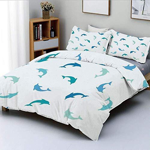 Juego de funda nórdica, saltando y jugando figuras de delfines Tema de animales acuáticos marinos Juego de cama decorativo de 3 piezas con 2 fundas de almohada, azul turquesa azul marino, el mejor reg