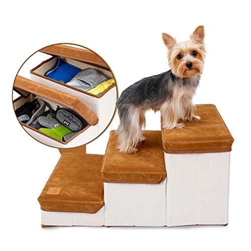Hengu Faltbare Hundetreppe 3 Stufen, Tragbar Haustiertreppe Leiter als Aufbewahrungsbox für Kleine Mittelgroße Ältere Hunde Katzen Haustiere Hündchen auf das Sofa/Bett Klettern