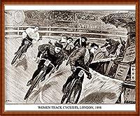 ポスター アーティスト不明 Women Track Cyclists 1898 額装品 ウッドハイグレードフレーム(ナチュラル)