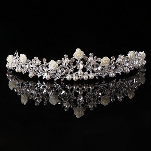 Qiuxiaoaa Haarkronen Für Frauen-Perle Crown Braut Hochzeit Tiara Prinzessin Schmuck Frauen Königin Dekoration Silber