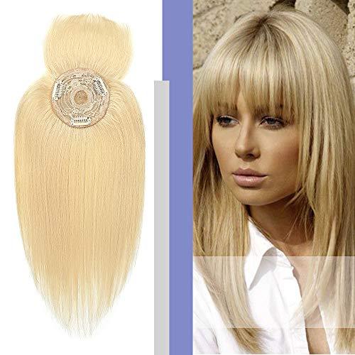 Elailite Hair Topper Donna Capelli Veri Clip Extension 10cm*10cm con Mono Protesi Toupet Toupee Human Hair Naturali 35cm 38g #613 Biondo Chiarissimo