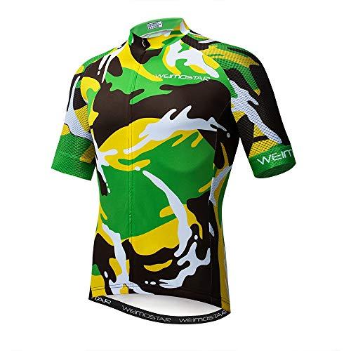 Maglia da ciclismo da uomo in jersey, a maniche corte, per ciclismo, attività all'aperto e mountain bike - verde - XL
