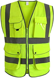 VICRR Safety Vest Reflective, High Visibility Safety Vest with 9 Pockets and Zipper, Yellow(Medium)