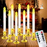 """Christmas Window Candles Battery Operated, 8Pcs 10"""" Flameless Taper Candles with Timer and Remote, Golden Removable Base & Suction Cup, Flickering LED Candle Lights for Christmas Home Decor, warmwhite"""